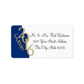 Clase de graduación del oro de 2016 azules etiqueta de dirección