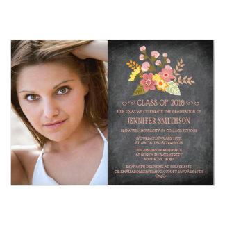 """Clase de graduación floral de la foto de la invitación 5"""" x 7"""""""