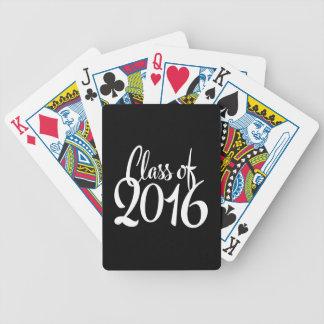 Clase de graduación retra de la tipografía 2016 baraja de cartas bicycle