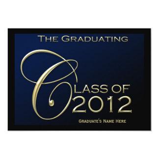 Clase de invitación azul de la graduación 2012 5x7