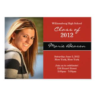 Clase de invitación de la graduación de 2012 rojos