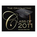 Clase de invitación negra lisa de la graduación