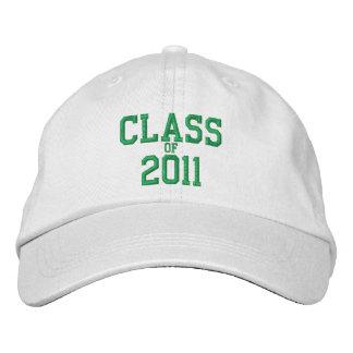 Clase de la gorra de béisbol blanca bordada verde