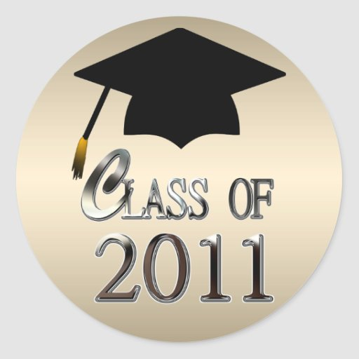 Clase de la graduación 2011 pegatina redonda