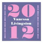 Clase de la graduación 2012 Ver cuadrado rosado Invitación 13,3 Cm X 13,3cm