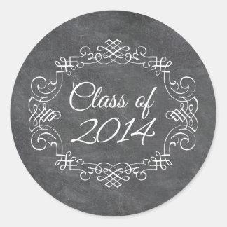 Clase de la graduación 2014 de la pizarra del remo pegatina redonda