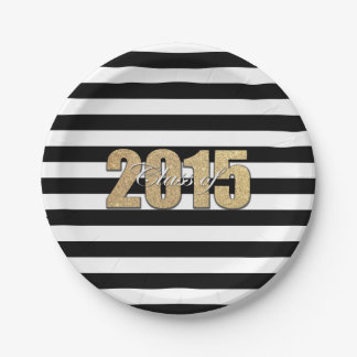 Clase de la graduación 2015 de la raya negra del plato de papel 17,78 cm