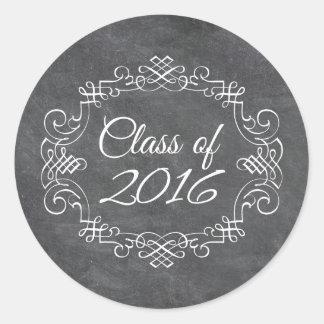 Clase de la graduación 2016 de la pizarra del pegatina redonda