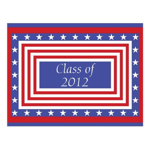 Clase de la graduación - barras y estrellas postal
