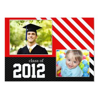 """Clase de la graduación blanco y negro roja 2012 invitación 5"""" x 7"""""""