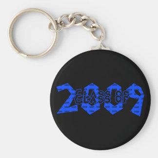 Clase de la graduación de 2009 azules y negros llavero redondo tipo pin