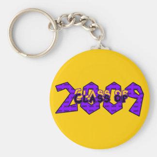 Clase de la graduación de 2009 púrpuras y de oro llavero redondo tipo pin
