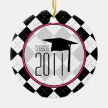 Clase de la graduación de 2011 Argyle negro Adorno De Navidad