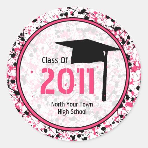 Clase de la graduación de 2011 rosados y de pegatina redonda