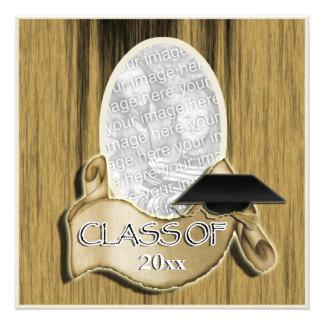 Clase de la graduación de madera elegante de la fo invitacion personalizada
