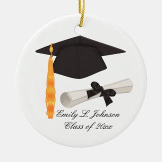 Clase de la graduación de ornamentos adorno navideño redondo de cerámica