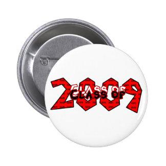 Clase de la graduación del botón rojo 2009 pin redondo de 2 pulgadas