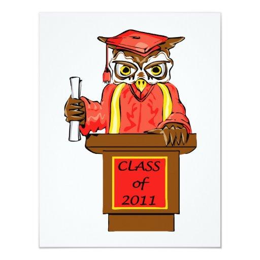 Clase de la graduación del búho de 2011 comunicado personalizado