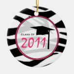 Clase de la graduación del estampado de zebra 2011 adornos de navidad
