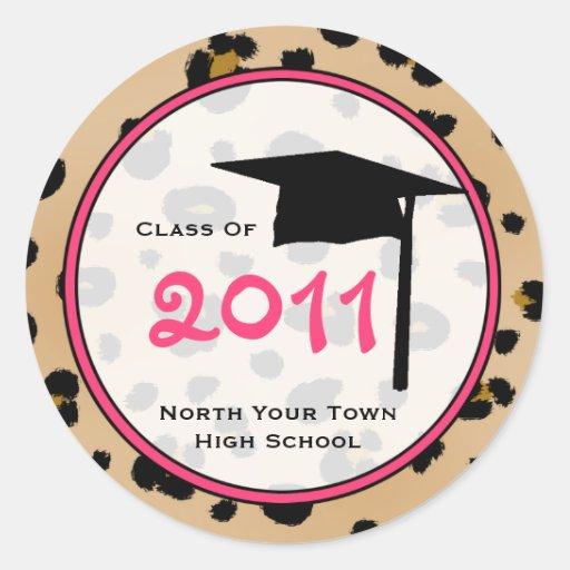 Clase de la graduación del estampado leopardo 2011 etiquetas redondas