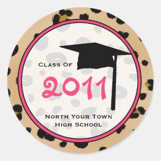 Clase de la graduación del estampado leopardo 2011 pegatina redonda