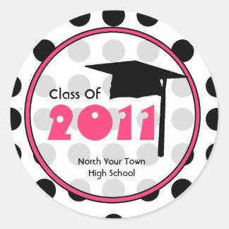 Clase de la graduación del lunar 2011 y de rosa pegatina redonda