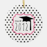 Clase de la graduación del lunar 2012 y de rosa adornos de navidad
