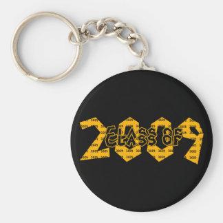 Clase de la graduación del oro 2009 y de negro llavero redondo tipo pin