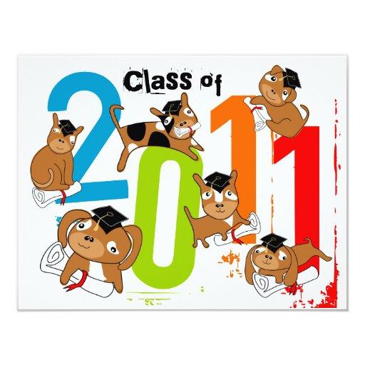 """Clase de la graduación del perrito 2011 de la invitación 4.25"""" x 5.5"""""""