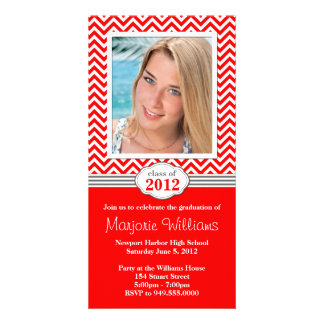 Clase de la invitación de la graduación de la raya tarjeta fotográfica personalizada