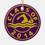 Clase de la natación 2014 adorno redondo de cerámica