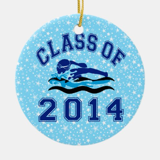 Clase de la natación 2014 del chica adorno navideño redondo de cerámica