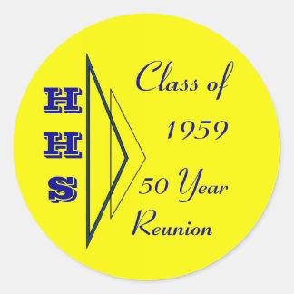 clase de la reunión 1959 pegatina redonda
