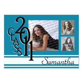 Clase de la tri foto 2011 de la graduación invitación 12,7 x 17,8 cm