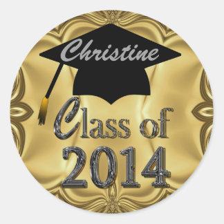 Clase de los pegatinas 2014 de la graduación del etiqueta redonda
