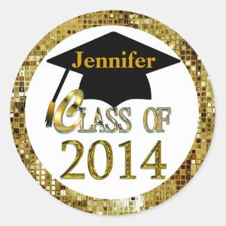 Clase de los pegatinas 2014 de la graduación del etiquetas redondas