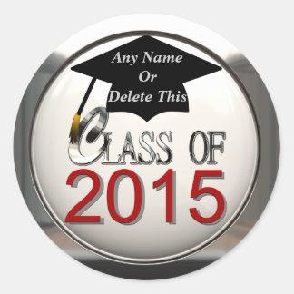 Clase de los pegatinas 2015 de la graduación etiquetas redondas