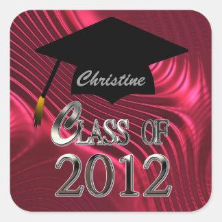 Clase de los sellos 2012 de la graduación calcomanía cuadradas personalizadas
