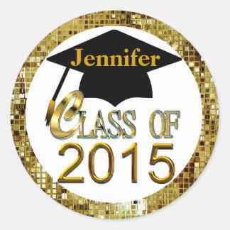 Clase de los sellos 2015 de la graduación del oro pegatinas redondas