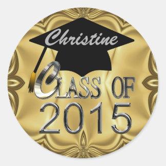 Clase de los sellos 2015 de la graduación del oro pegatina redonda