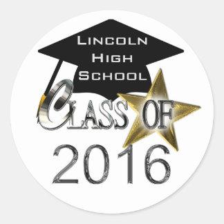 Clase de los sellos 2016 de la graduación pegatina redonda