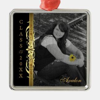Clase de ornamento del negro de la foto de la adorno cuadrado plateado