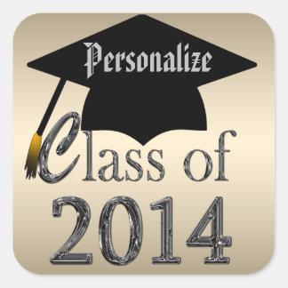 Clase de pegatinas de la graduación del oro 2014 y
