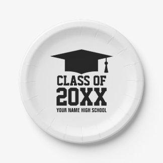 Clase de placas graduadas de la fiesta de platos de papel
