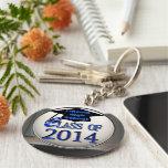 Clase de plata y azul del llavero 2014 de la gradu