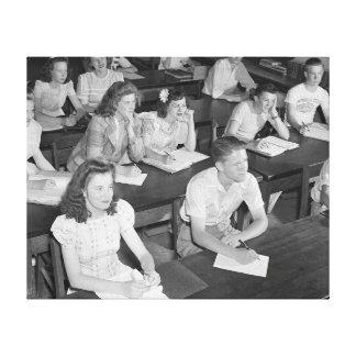 Clase de secundaria, 1943 impresión de lienzo