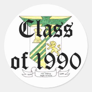 Clase de secundaria de McAuley de 1990 Pegatina Redonda