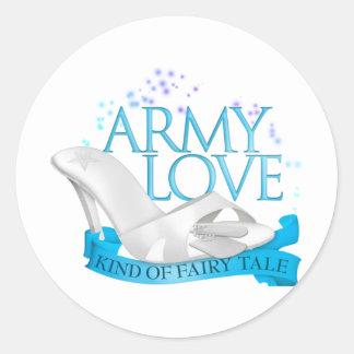 Clase del amor del ejército de cuento de hadas pegatina redonda