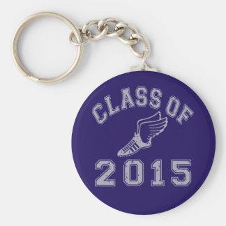 Clase del atletismo 2015 - gris 2 llavero redondo tipo pin