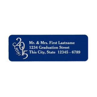 Clase del azul de plata 2015 de la graduación etiquetas de remite